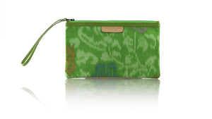 Leather-shoes-Clutch 14x23 - Green Handwoven Ikat-Zipper Clutch-NILUH DJELANTIK-NILUH DJELANTIK