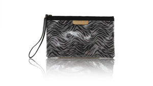 Leather-shoes-Clutch 14x23 - Grey Metallic Zebra Print Faux leather-Zipper Clutch-NILUH DJELANTIK-NILUH DJELANTIK