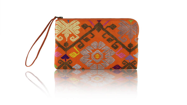 Leather-shoes-Clutch 14x23 - Orange Songket-Zipper Clutch-NILUH DJELANTIK-NILUH DJELANTIK
