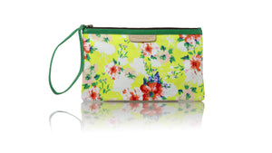 Leather-shoes-Clutch 14x23 - Yellow Flower & green piping-Zipper Clutch-NILUH DJELANTIK-NILUH DJELANTIK