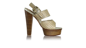 leather shoes Danny PF Woven 140mm WH - Nude & Gold, sandals higheel , NILUH DJELANTIK - 1