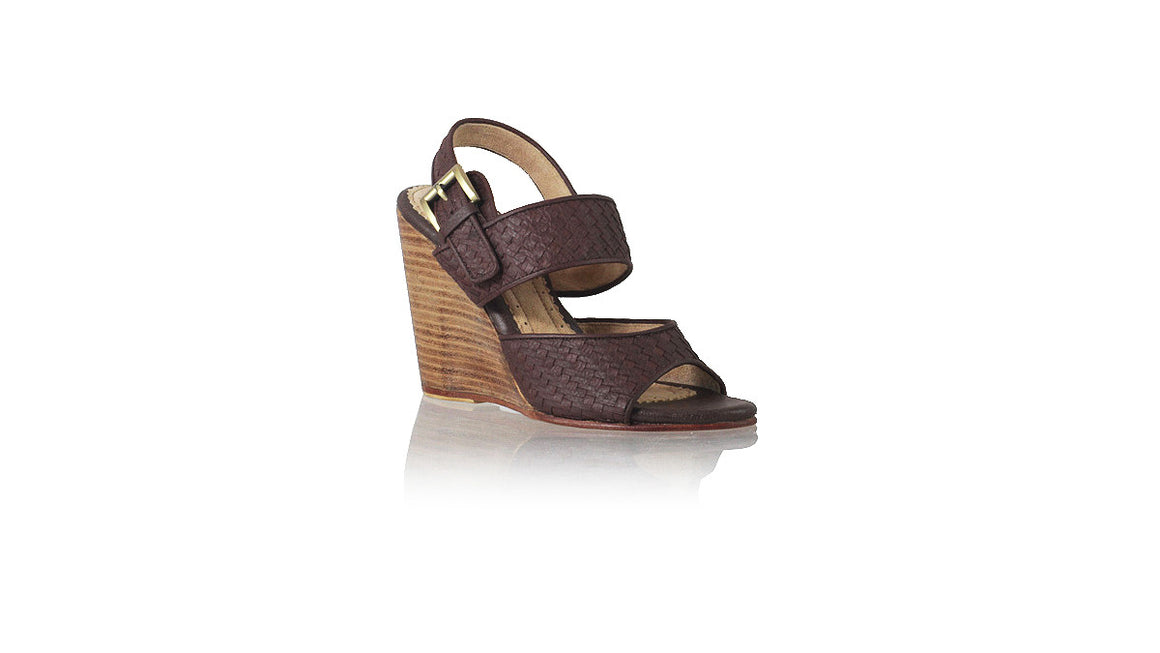 leather shoes Danny Woven Enrique 115mm - Wedges Dark Brown, sandals wedges , NILUH DJELANTIK - 1