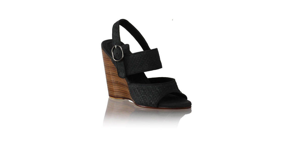 Leather-shoes-Danny Woven Enrique with Strap 110mm Wedges - Black-sandals wedges-NILUH DJELANTIK-NILUH DJELANTIK