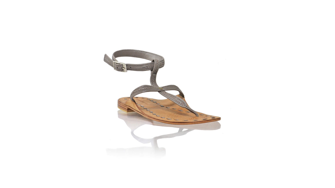 Leather-shoes-Daria 10mm Flat - Grey-sandals flat-NILUH DJELANTIK-NILUH DJELANTIK