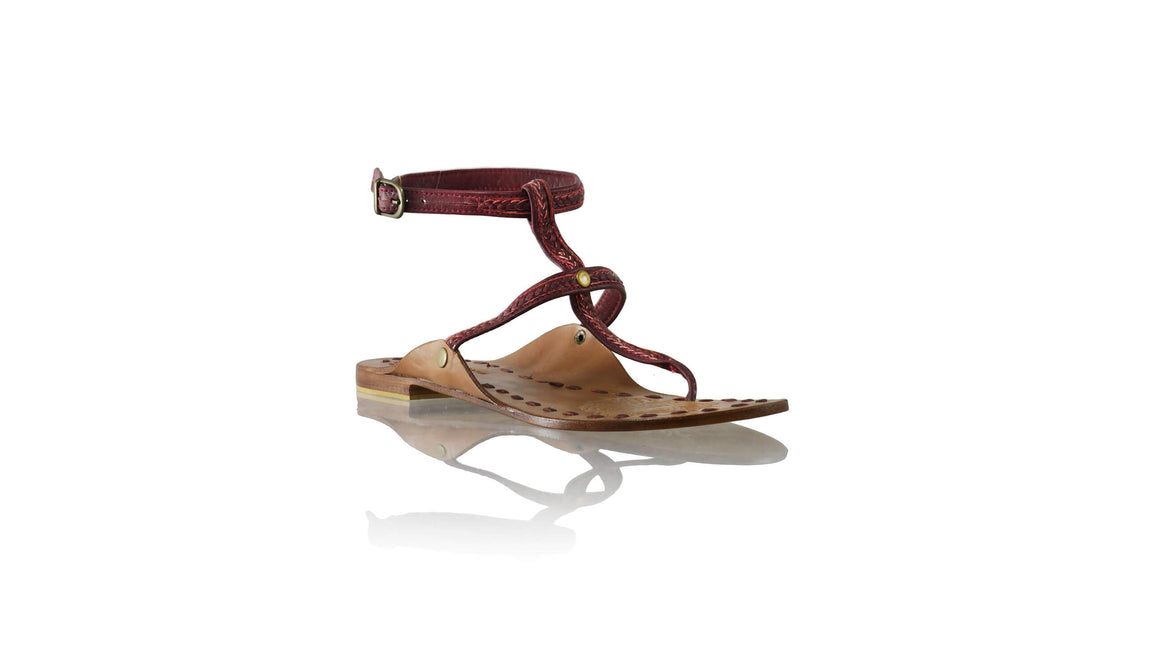 Leather-shoes-Daria 10mm Flat - Maroon-sandals flat-NILUH DJELANTIK-NILUH DJELANTIK