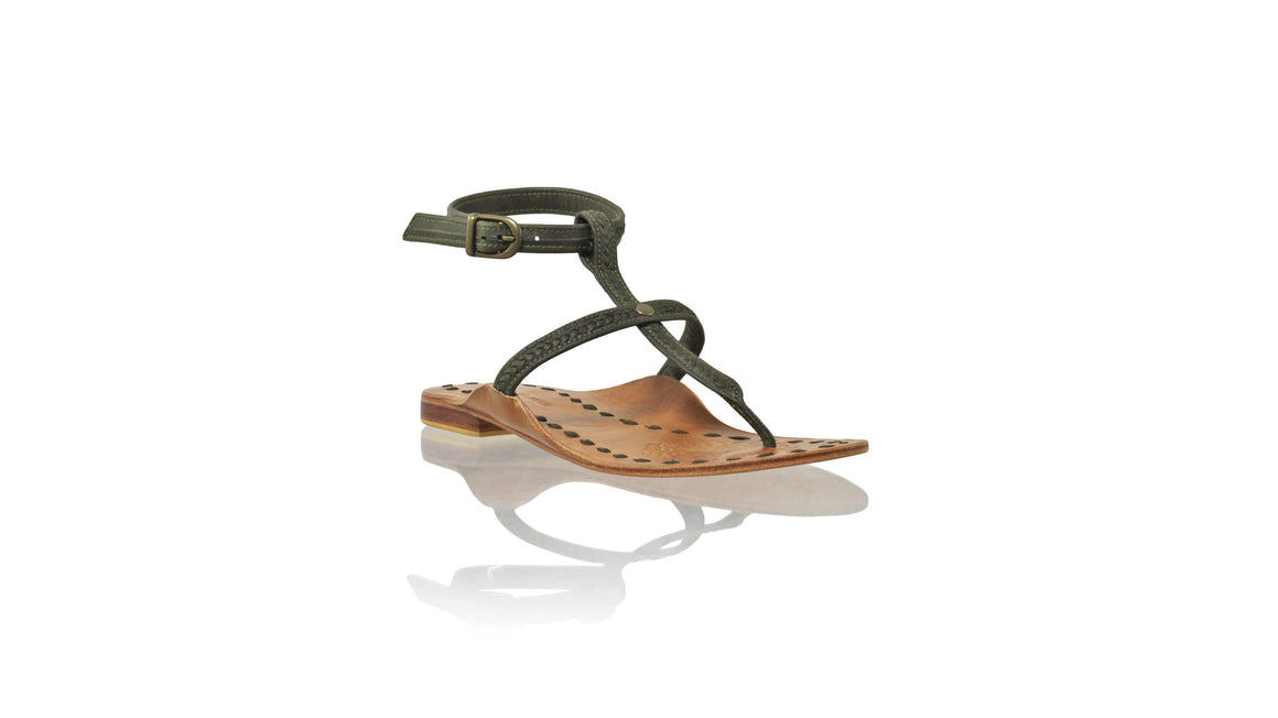 Leather-shoes-Daria 10mm Flat - Olive-sandals flat-NILUH DJELANTIK-NILUH DJELANTIK