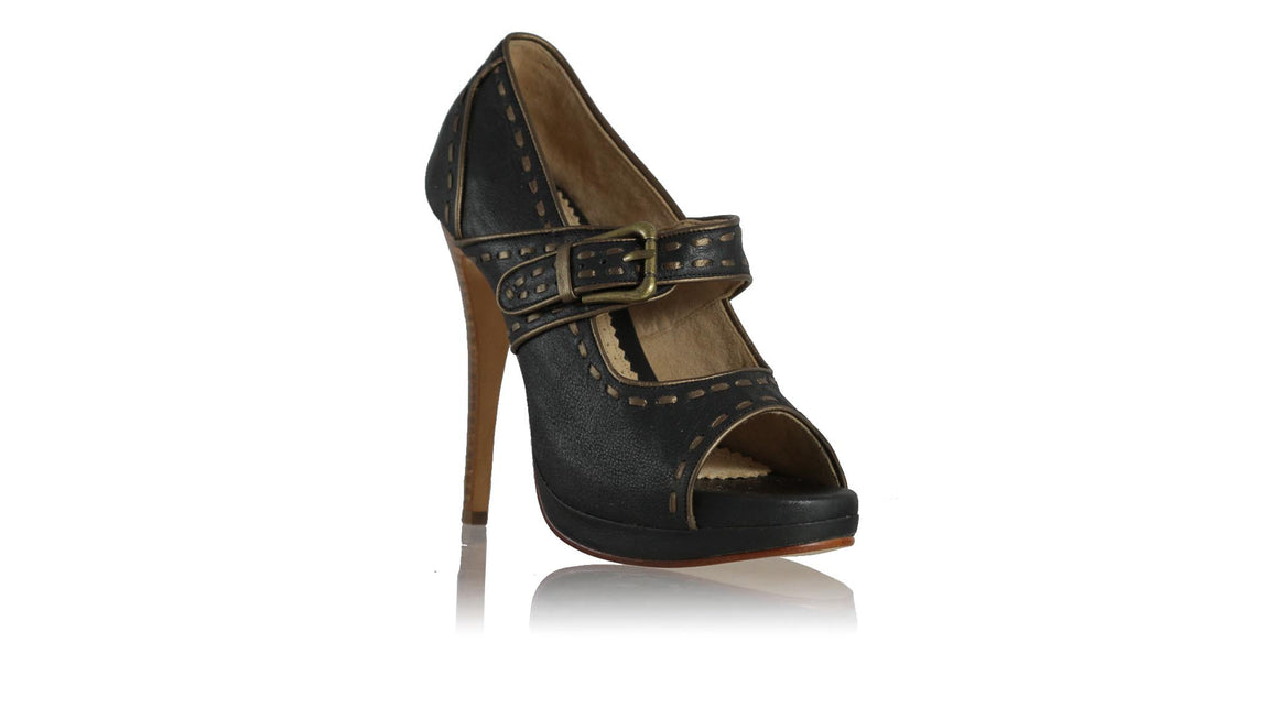 leather shoes Dewi PF Peep Toe 138 mm SH - Black & Bronze, pumps highheel , NILUH DJELANTIK - 1