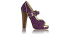 leather shoes Dewi PF Peep Toe 140 mm WH - Purple Print & Gold, pumps highheel , NILUH DJELANTIK - 1