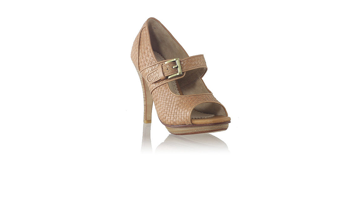 leather shoes Dewi PF Peep Toe Woven 115mm SH - Brown, pumps highheel , NILUH DJELANTIK - 1