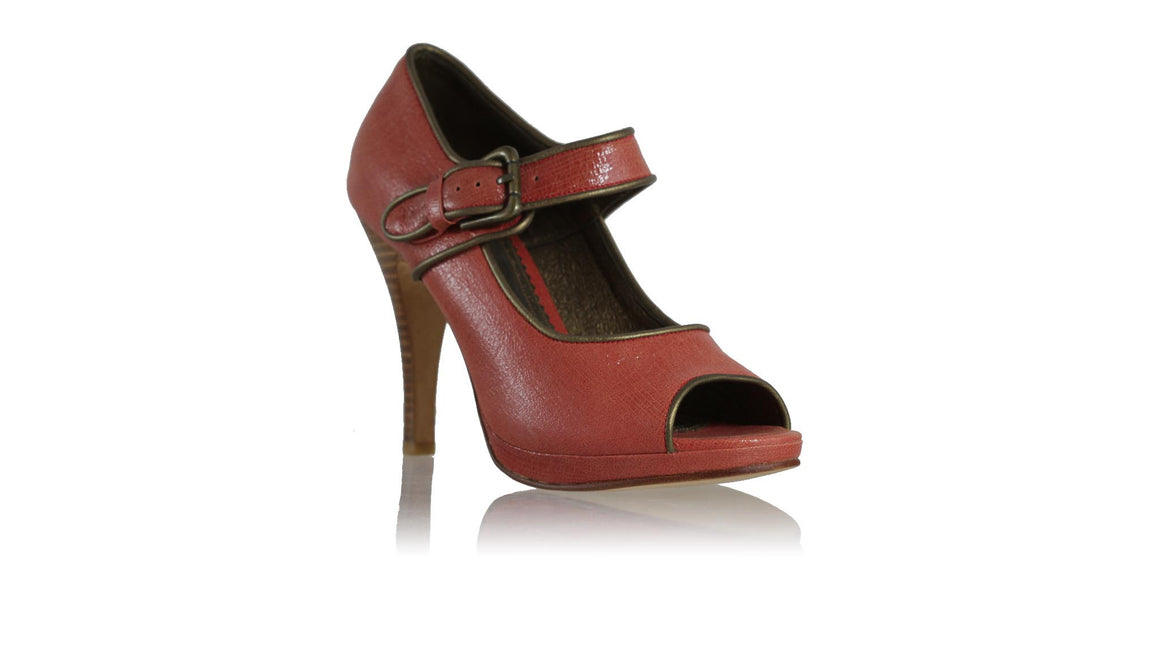 leather shoes Dewi PF Peep Toe without Sulam 115 mm SH - Red Cracking & Bronze, pumps highheel , NILUH DJELANTIK - 1