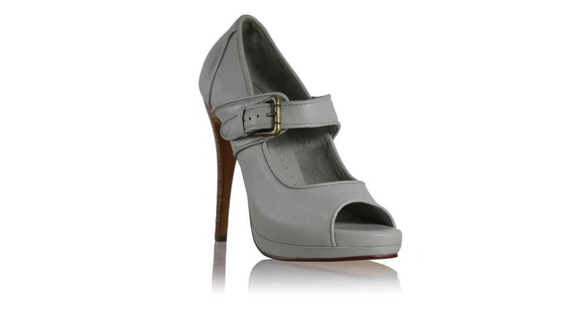 leather shoes Dewi PF Peep Toe without Sulam 138mm SH - Light Grey, pumps highheel , NILUH DJELANTIK - 1