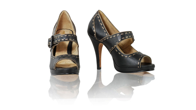 Leather-shoes-Dewi Peeptoe 115mm SH PF - Black & Bronze-pumps highheel-NILUH DJELANTIK-NILUH DJELANTIK