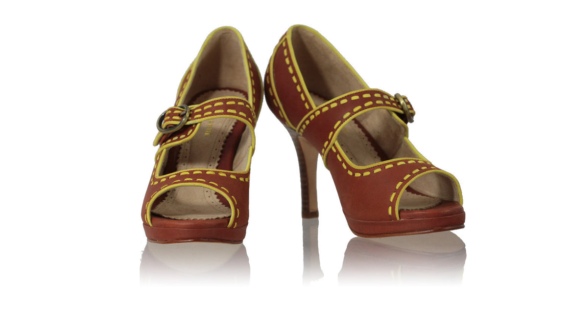 leather shoes Dewi PF Peeptoe 90mm SH - Burnt Orange & Yellow Lime, Shoes , NILUH DJELANTIK - 1