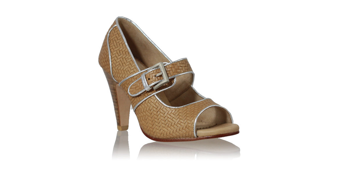 leather shoes Dewi Peep Toe 90mm New SH - Brown Woven Print & Silver, pumps highheel , NILUH DJELANTIK - 1