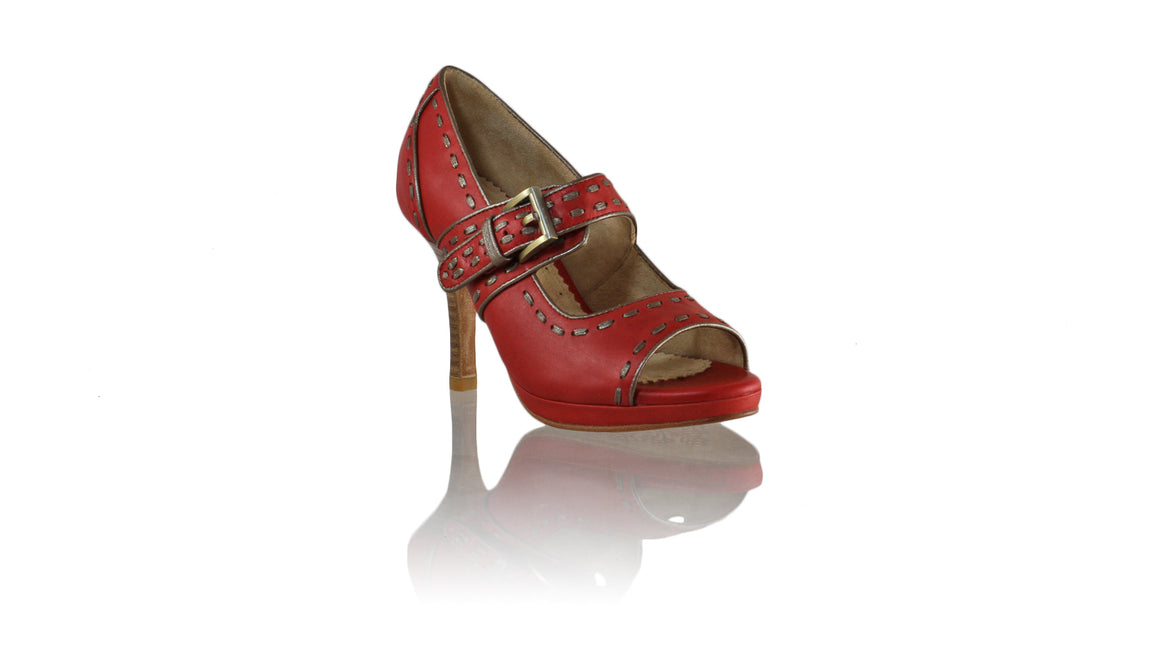 Leather-shoes-Dewi PF Peeptoe 90mm SH 2 - Red & Bronze-pumps highheel-NILUH DJELANTIK-NILUH DJELANTIK