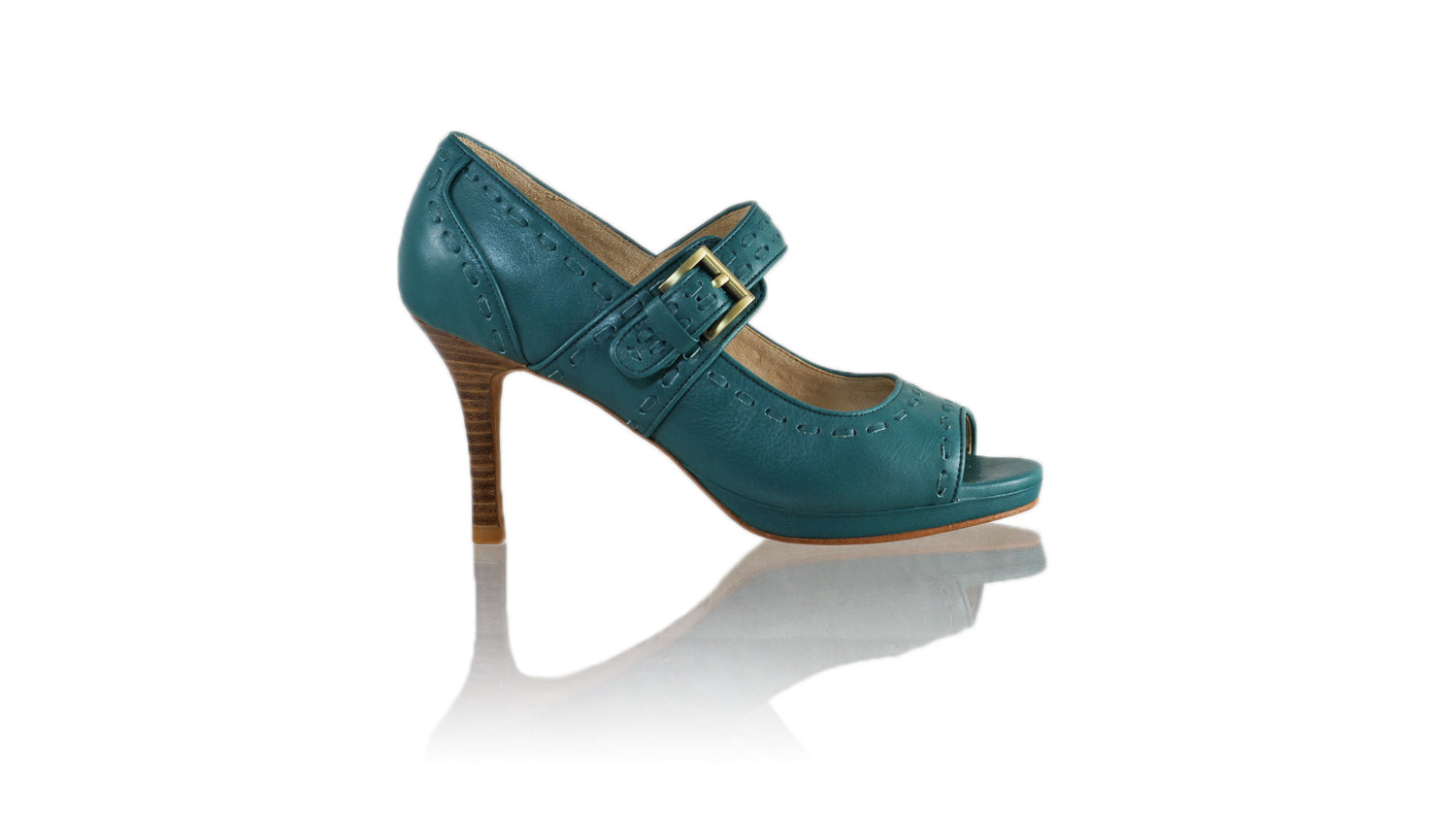 Leather-shoes-Dewi Peeptoe 90mm SH PF - All Emerald-sandals higheel-NILUH DJELANTIK-NILUH DJELANTIK