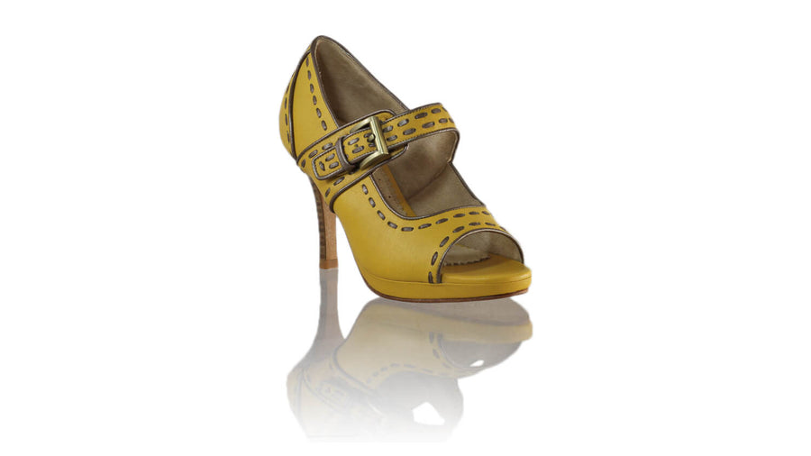 Leather-shoes-Dewi Peeptoe 90mm SH PF - Yellow & Bronze-sandals higheel-NILUH DJELANTIK-NILUH DJELANTIK