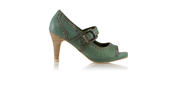 Leather-shoes-Dewi Peeptoe 90mm SH PF - Dark Green & Bronze-Shoes-NILUH DJELANTIK-NILUH DJELANTIK