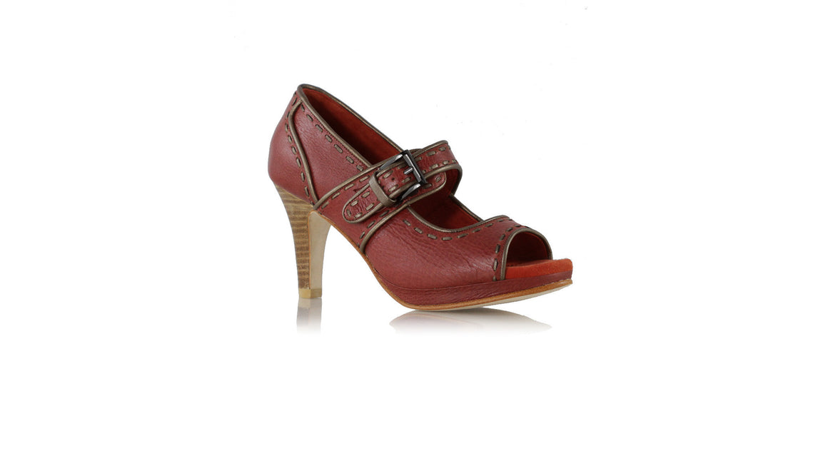 Leather-shoes-Dewi Platform Peeptoe 90mm - Red brown & Bronze-Shoes-NILUH DJELANTIK-NILUH DJELANTIK