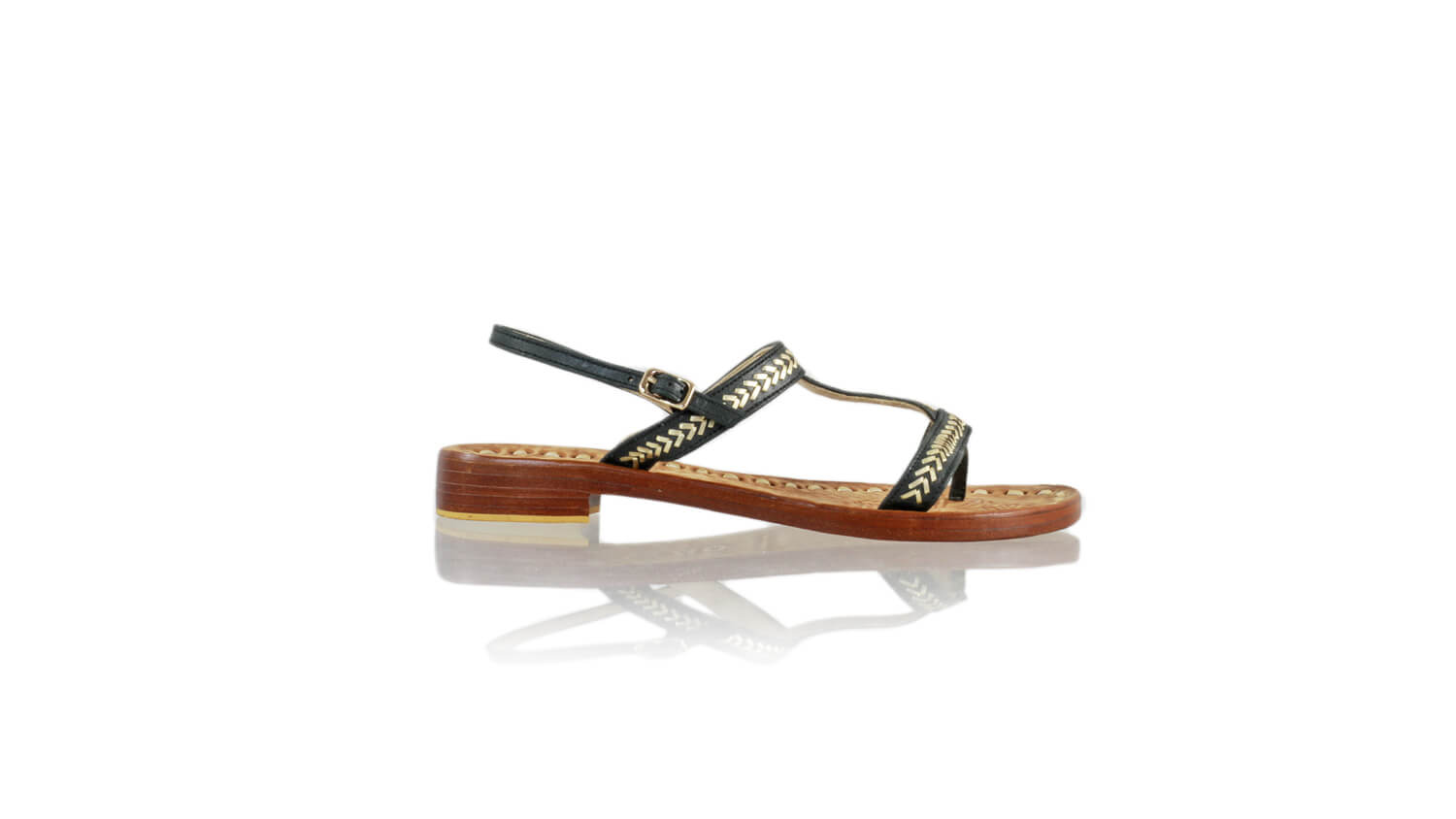 Leather-shoes-Diah 20mm Flat - Black & Gold-sandals flat-NILUH DJELANTIK-NILUH DJELANTIK
