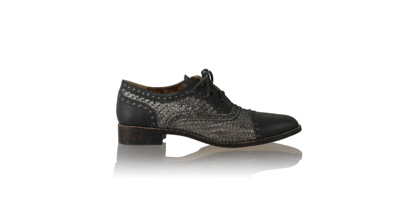 Leather-shoes-Diego Woven Enrique 25mm Flat - Black & Grey Cracking-flats laceup-NILUH DJELANTIK-NILUH DJELANTIK