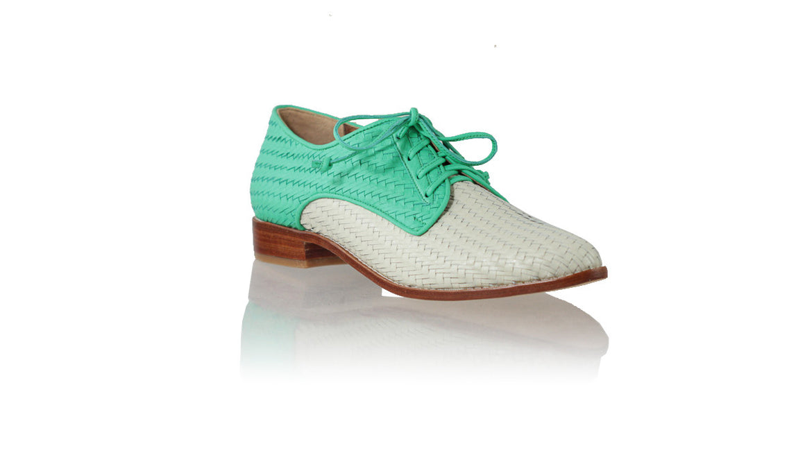 Leather-shoes-Dominique 25mm Flats - Light Grey & Green-flats laceup-NILUH DJELANTIK-NILUH DJELANTIK