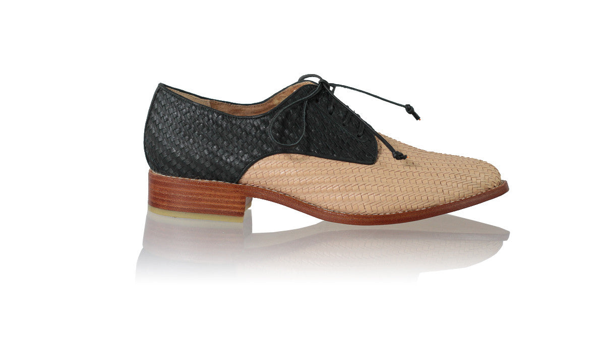 Leather-shoes-Dominique 25mm Flat - Nude & Black-flats laceup-NILUH DJELANTIK-NILUH DJELANTIK