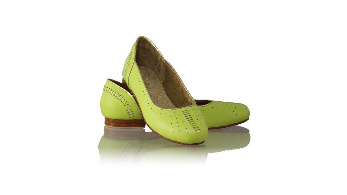 Leather-shoes-Donna Closed Toe 20mm Ballet - Lime Green & Gold-flats ballet-NILUH DJELANTIK-NILUH DJELANTIK