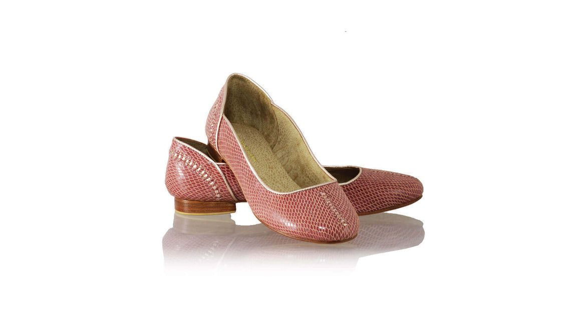 Leather-shoes-Donna Closed Toe 20mm Ballet - Maroon Snake Print & Gold-flats ballet-NILUH DJELANTIK-NILUH DJELANTIK