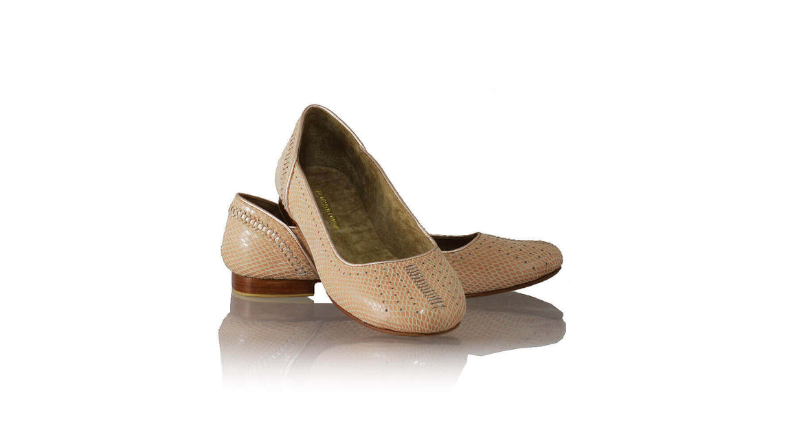 Leather-shoes-Donna Closed Toe 20mm Ballet - Salmon Pink Snake Print & Gold-flats ballet-NILUH DJELANTIK-NILUH DJELANTIK