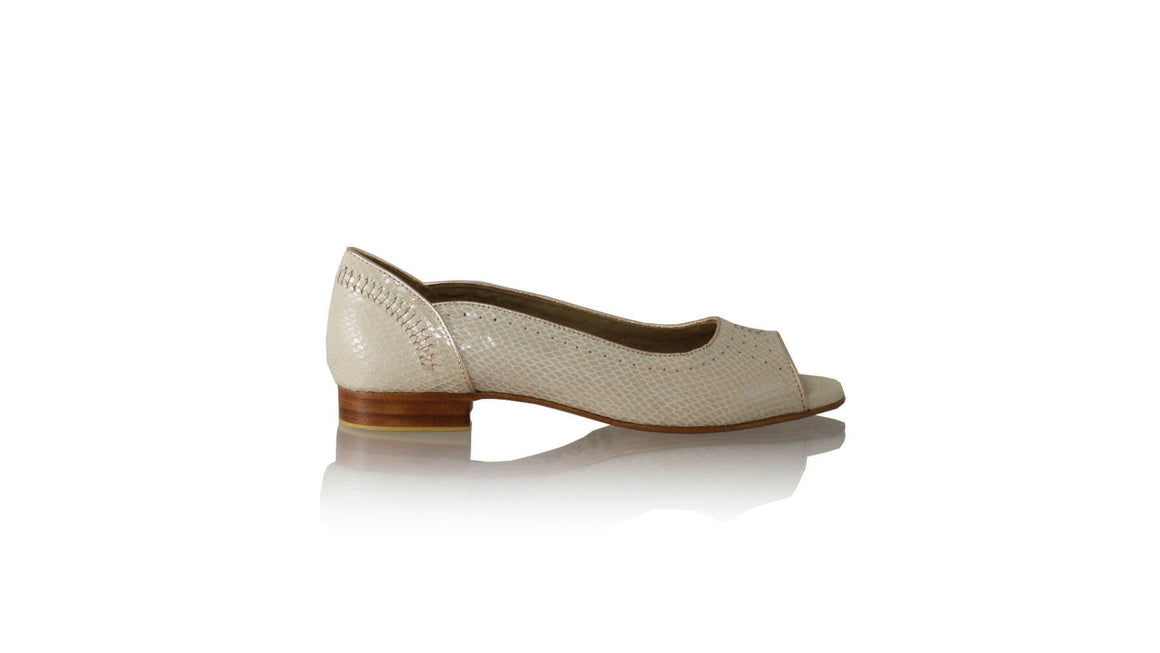 Leather-shoes-Donna Peep Toe 20mm Ballet - Cream Snake Print & Gold-flats ballet-NILUH DJELANTIK-NILUH DJELANTIK