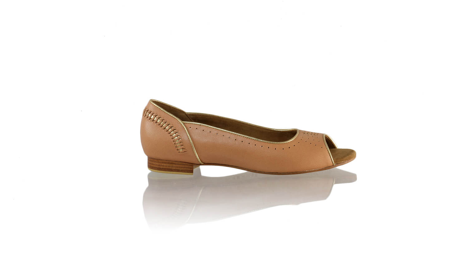 Leather-shoes-Donna Peeptoe 20mm Ballet - Baby Pink & Gold-flats ballet-NILUH DJELANTIK-NILUH DJELANTIK