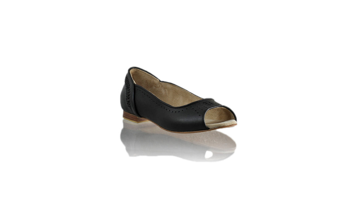 Leather-shoes-Donna Peeptoe 20mm Ballet - All Black-flats ballet-NILUH DJELANTIK-NILUH DJELANTIK