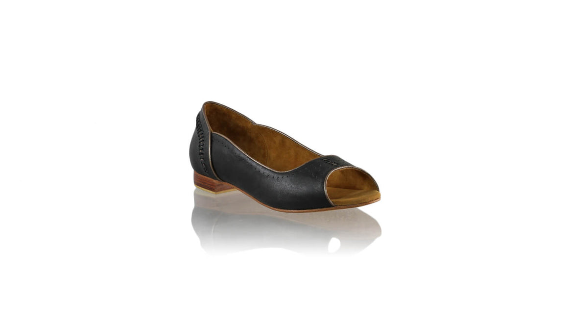 Leather-shoes-Donna Peeptoe 20mm Ballet - Black & Bronze-flats ballet-NILUH DJELANTIK-NILUH DJELANTIK