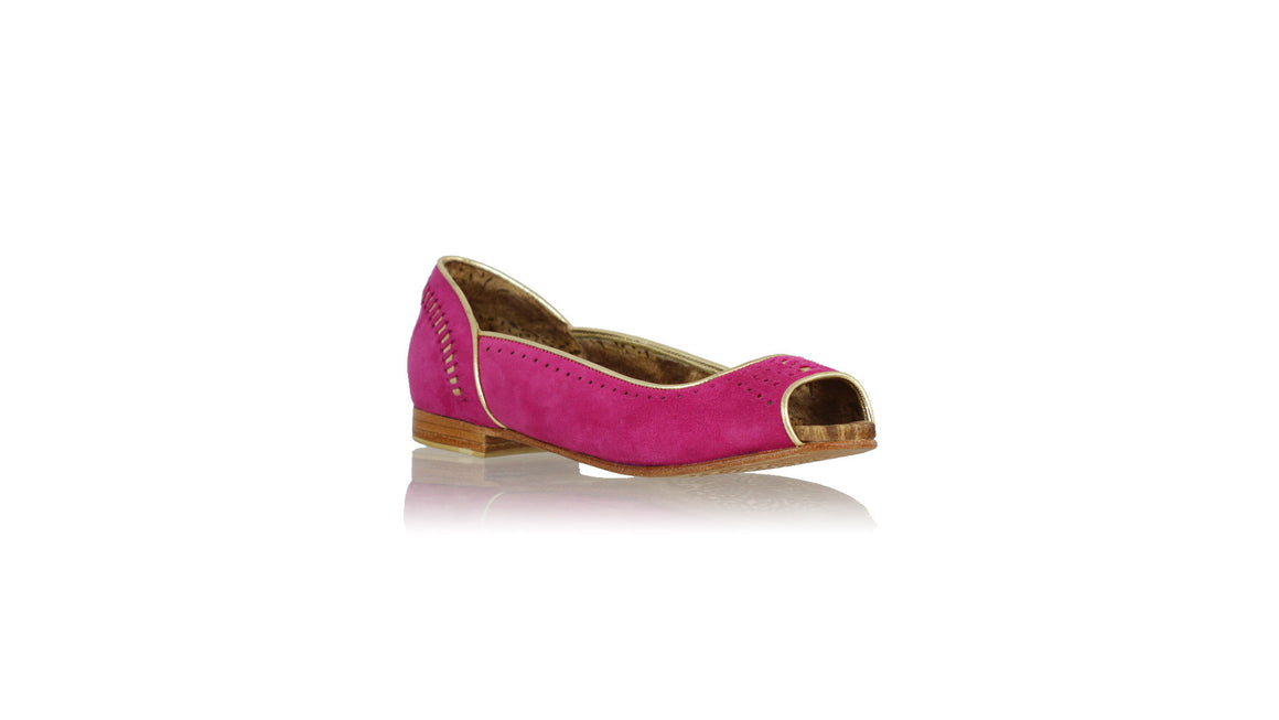 leather shoes Donna Peeptoe 20mm Ballet - Fuchsia Suede & Gold, flats ballet , NILUH DJELANTIK - 1
