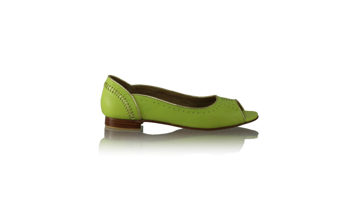 Leather-shoes-Donna Peeptoe 20mm Ballet - Lime Green & Gold-flats ballet-NILUH DJELANTIK-NILUH DJELANTIK