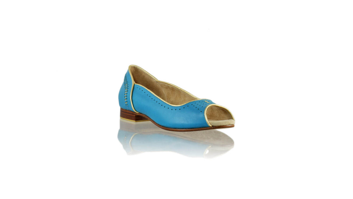 Leather-shoes-Donna Peeptoe 20mm Ballet - Turquoise & Gold-flats ballet-NILUH DJELANTIK-NILUH DJELANTIK