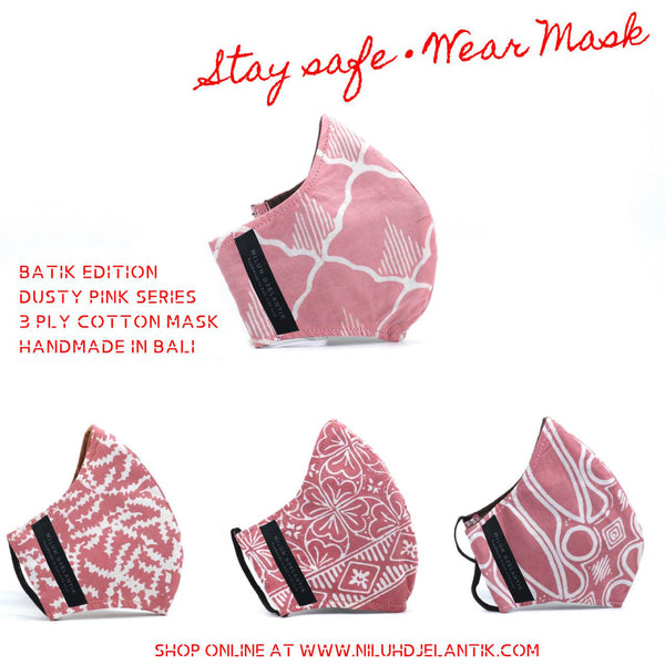 Leather-shoes-Batik 3 PLY cotton mask Set DUSTY PINK SERIES-Accessories-NILUH DJELANTIK-NILUH DJELANTIK