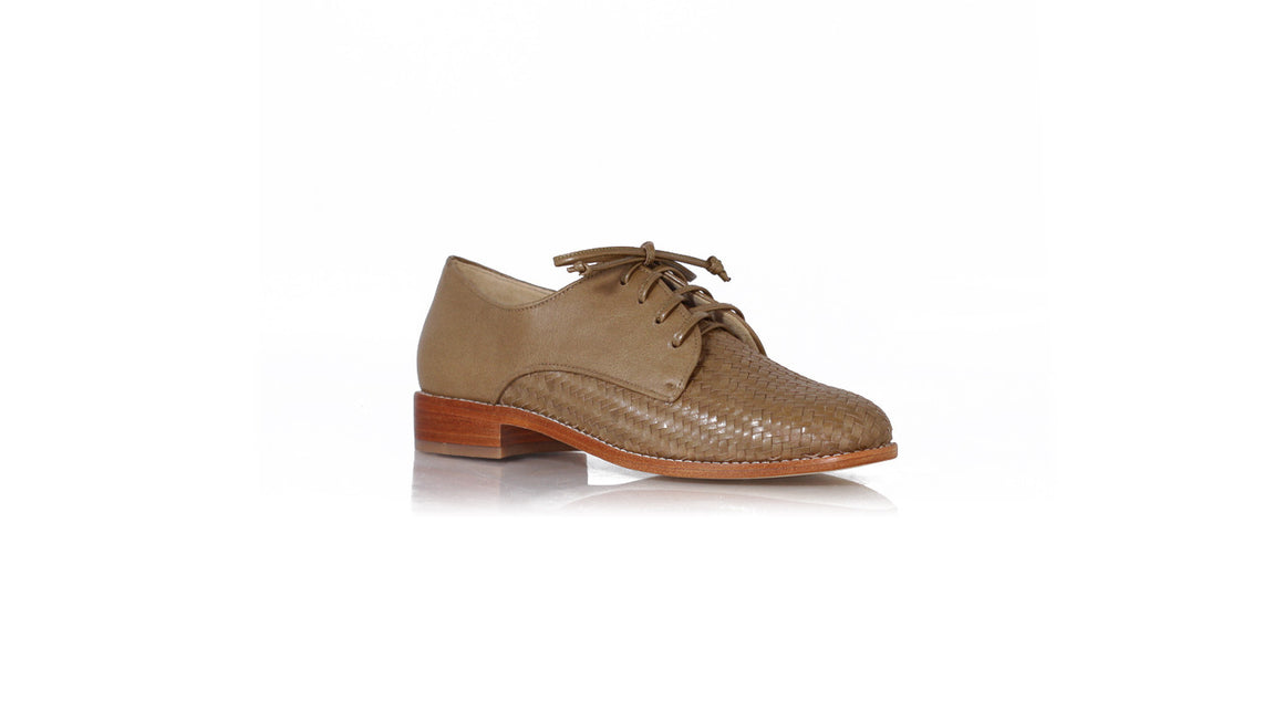 leather shoes Enrique 25mm woven - Mocha, flats laceup , NILUH DJELANTIK - 1