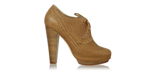 leather shoes Oxford Woven Enrique PF 140mm WH Brown, pumps highheel , NILUH DJELANTIK - 1