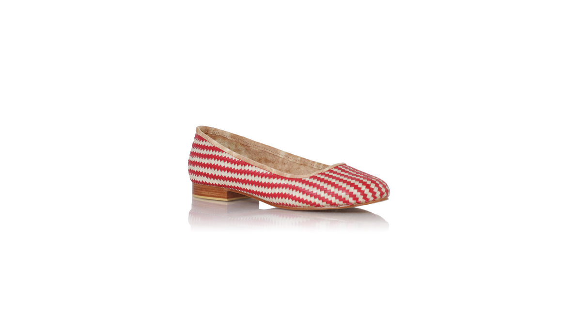 leather shoes Vivi Without Tassel 20mm Ballet - Woven - Red Ivory, Shoes , NILUH DJELANTIK - 1