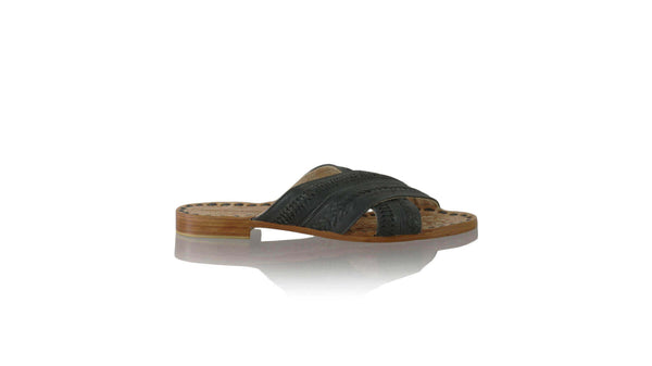 Leather-shoes-Gili 20mm Flat - Dark Grey Napalan-sandals flat-NILUH DJELANTIK-NILUH DJELANTIK