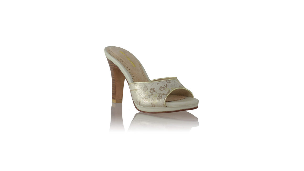 leather shoes Gita PF 90mm New SH - Ivory Flower Gliter Print, sandals higheel , NILUH DJELANTIK - 1