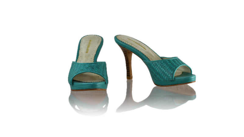 Leather-shoes-Gita Woven 90mm SH PF - Dark Aqua-sandals higheel-NILUH DJELANTIK-NILUH DJELANTIK