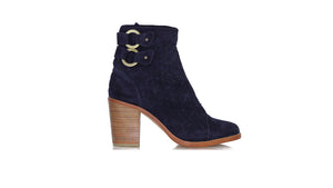 Leather-shoes-Gladiator Short Boots Anyam Enrique 90mm WH Navy Blue Suede-boots midheel-NILUH DJELANTIK-NILUH DJELANTIK