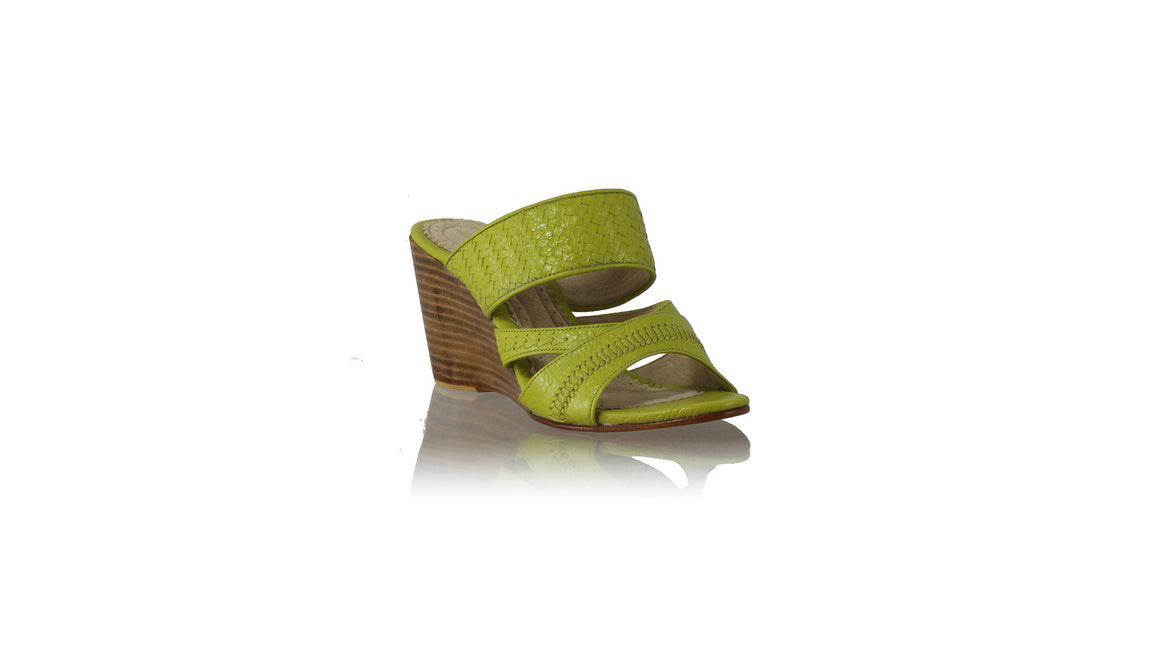 Leather-shoes-Happy Woven Enrique Without Strap 80mm Wedges - Lime Green-sandals wedges-NILUH DJELANTIK-NILUH DJELANTIK