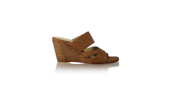 Leather-shoes-Happy Without Strap 90mm Wedges SH PF - Brown-sandals wedges-NILUH DJELANTIK-NILUH DJELANTIK