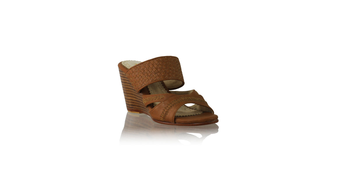 Leather-shoes-Happy Woven Sirsan Without Strap 80mm Wedges - Brown-sandals wedges-NILUH DJELANTIK-NILUH DJELANTIK