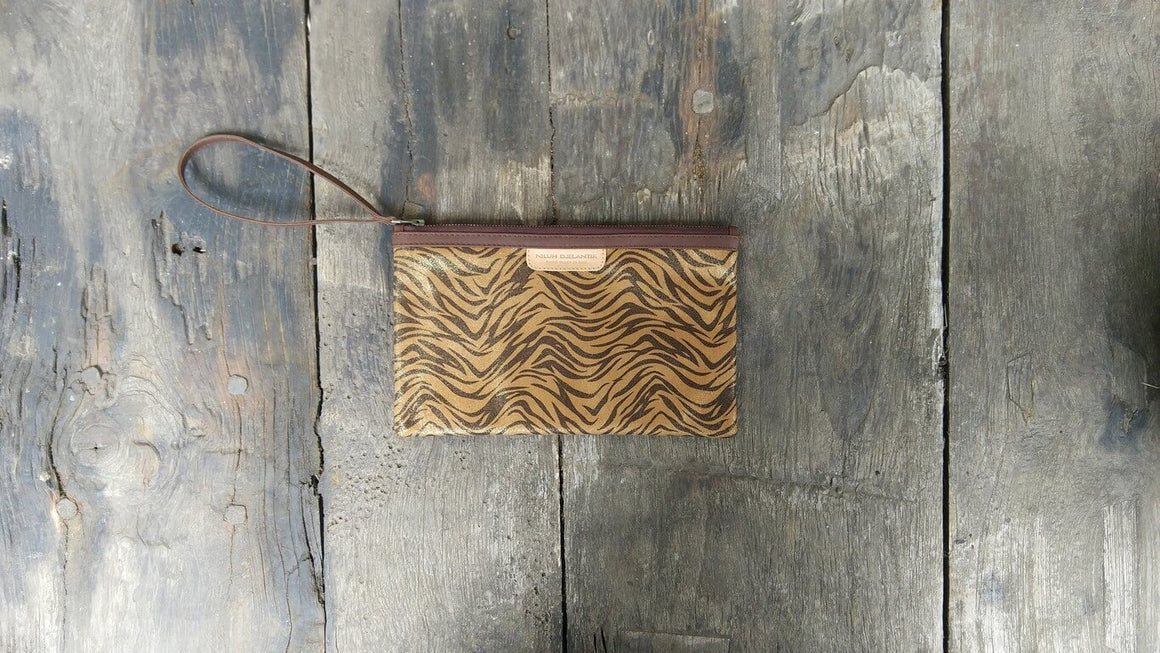 Leather-shoes-Clutch 14x23 - Brown Zebra Print Faux Leather-Zipper Clutch-NILUH DJELANTIK-NILUH DJELANTIK