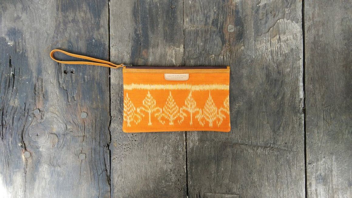 Leather-shoes-Clutch 14x23 - Orange Handwoven Ikat-Zipper Clutch-NILUH DJELANTIK-NILUH DJELANTIK